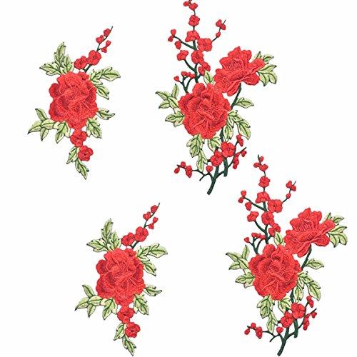 knowing 4 Stück Aufnäher Rose Blume Stickerei Applikation,Stickerei Kleidung Patches Nähen Bügeln,Patches Rose,Craft Applique Patches Abzeichen,Für T-Shirt, Jeans, Kleidersäcke
