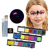 Pintura Facial 18 Colores Pintura Corporal Artística Espumoso Fácil De Limpiar, 3 Piezas Ideal Para Pascua Cosplay Fiestas Temáticas - Regalo De Los Niños