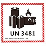 Hybsk 4.7' x 4.3' Lithium Ion Battery Transport Caution Warning Labels 50 Adhesive Stickers (UN3481)