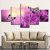 Cuadro de 5 piezas, lienzo de color púrpura, diseño de...