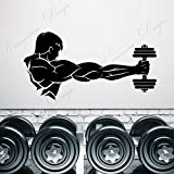 wZUN Gimnasio Fitness mancuerna Hombre musculoso Pegatina de Pared Vinilo Decorativo calcomanía extraíble Autoadhesivo Papel Tapiz 85X43cm