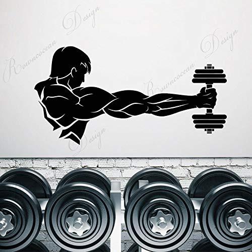 wZUN Gimnasio Fitness Mancuernas Hombre musculoso Pegatina de Pared Vinilo Decorativo calcomanía extraíble Autoadhesivo Papel Tapiz 68X34cm
