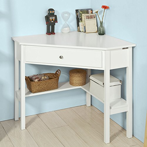 Haotian FWT31W White Corner Desk Triangle Table Desk with Drawer and Shelf Home Office Desk Computer WorkstationCorner Computer Desk