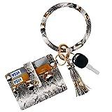 ICECORAL Wristlet Keychain Bracelet Pocket Credit Card Holder Tassel Bangle Leather Keyring Wallet For Women