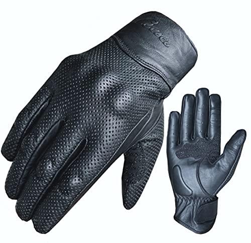 Motorradhandschuhe Motorrad Echtleder Handschuhe Knöchelschutz Touchscreen (L)
