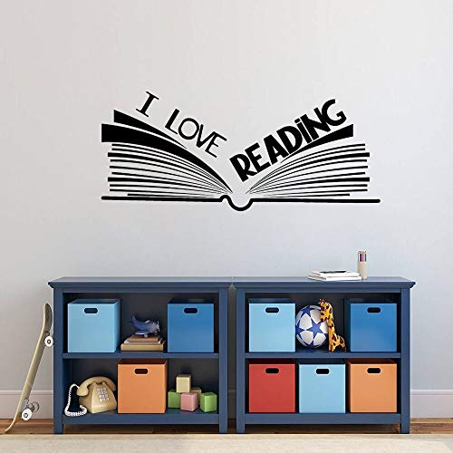 AGjDF I Love Reading Quote Book Decal Wall Art Learning Stickers Family Living Room and Library Decoration removable57x24cm