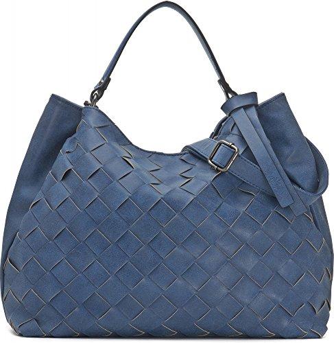 Hochwertige Damen Handtasche - Umhängetasche mit abnehmbarem Schulterriemen - Hobo Bag in Flechtoptik - 40 x 29 x 13,5 cm - Blaue Henkeltasche von MIYA BLOOM