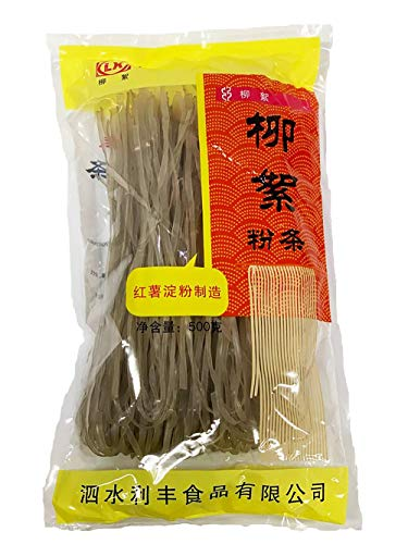 Sweet Potato Glass Noodles - Korean wide vermicelli pasta, Fat free and Gluten free, 100% Sweet potato starch, No Additives, No Alum inside , 17.63 Ounce (1Pack)