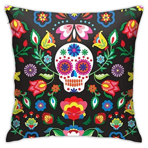 Funny Sugar Skull Flowers Soft Square Throw Pillow Covers Cushion Case 45X45CM