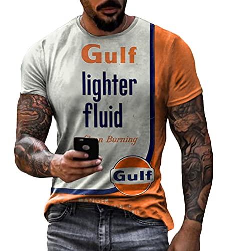 Yesgirl Camiseta de manga corta para hombre, diseño de carreras, cuello redondo, estampado básico, corte ajustado, retro, estilo deportivo, B naranja., M