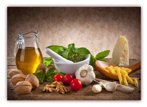 XXL Poster Küche 100 x 70cm (F-228) Nudeln mit Pesto, Knoblauch Tomaten Nüsse Käse Öl Basilikum Küche (Lieferung gerollt!)