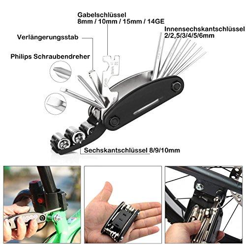 DAWAY Fahrrad Reparatur Werkzeug Set – A35 Fahrrad Werkzeugtasche mit 120 PSI Mini Fahrradpumpe, Multitool, Reifenheber und Selbstklebendes Fahrrad Flicken, 6 Monate Garantie - 4