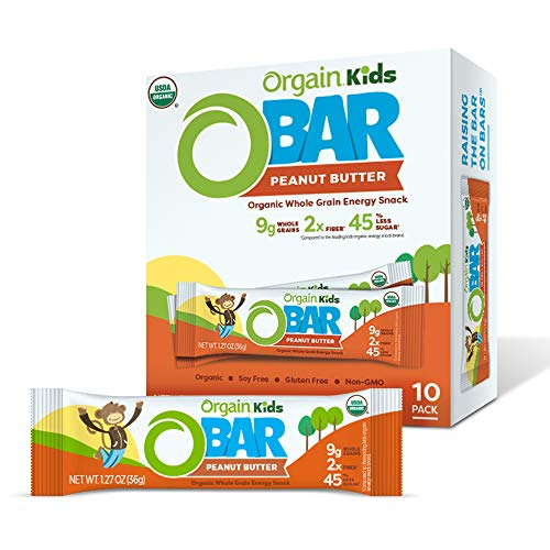 Orgain Organic Kids Energy Bar, Peanut Butter - Great for Snacks, Vegan, 7g Dietary Fiber, 4g Protein, Dairy Free, Gluten Free, Lactose Free, Soy Free, Kosher, 1.27 oz, 10 Count (Packaging May Vary)