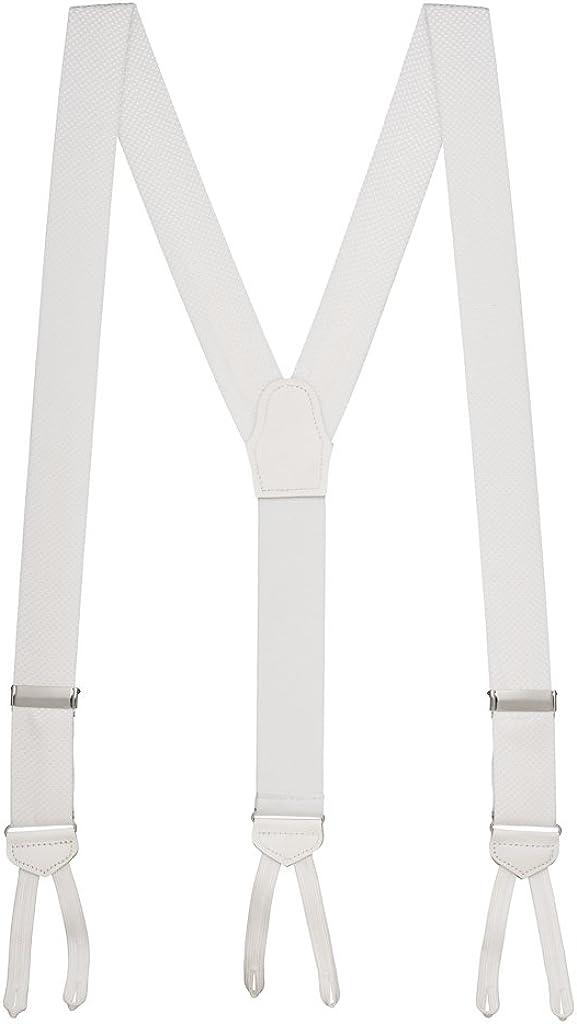 SuspenderStore Men's Jacquard Silk Pin Dot Suspenders - Runner End