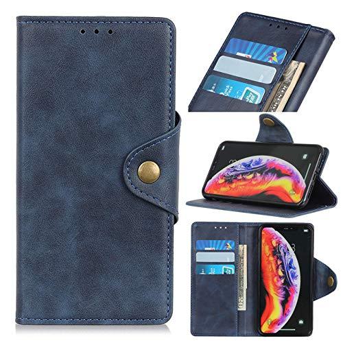 Premium S21 - Funda de piel con tapa para Samsung Galaxy S21 (con función atril y tarjetero, 360 grados), color azul
