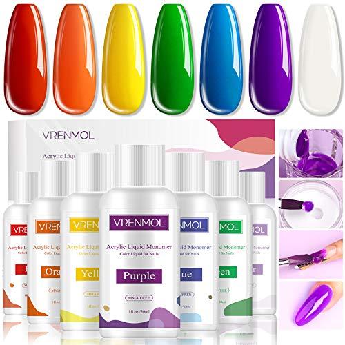 Vrenmol Acryl Liquid- Líquido de uñas acrílico monómero de 7 colores para polvo acrílico, extensión de uñas acrílica colorida para bricolaje, no amarillea, sin MMA