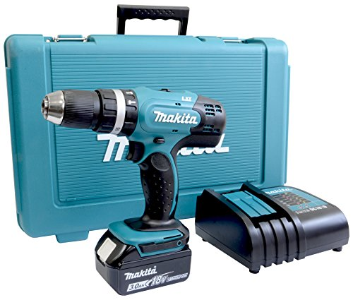 Makita DHP453SF Perceuse Visseuse à Percussion + 1 Batterie 18V 3Ah Li-Ion + Coffret Bleu