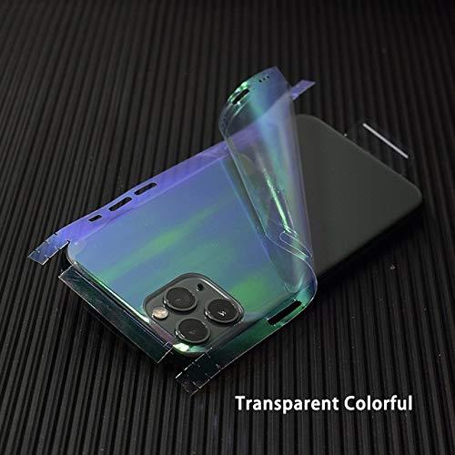SCBJBZ Transparente 3D de Fibra de Carbono Skins Film Wrap Skin Phone Back Sticker para iPhone 11 Pro XS MAX XR X 8 7 6 6S Plus Clear Sticker para iP6 6S Plus Clear Colorful