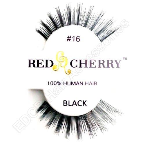 Rouge cerise 100% cheveux naturels Faux cils No 16 * * NOIR * *