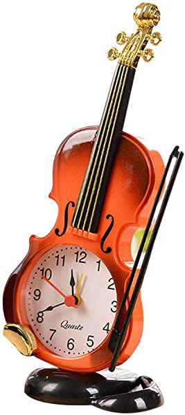 Table Clock Fashion Vintage Violin Stand Clock Alarm Clock Home Decoration Desk Decor Battery Operated Brown