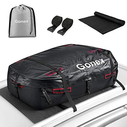 Gonex Dachbox, Faltbare Auto-Dachtasche, 1200D Starke wasserdichte Frachttasche auf dem Dach, passend für alle Fahrzeuge mit/ohne Gepäckträger-Schwarz&Rot