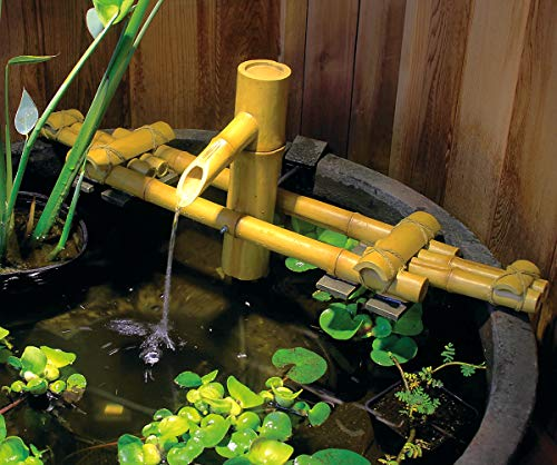 Aquascape 78308 Poly-Resin Adjustable Pouring Bamboo Fountain, Yellow