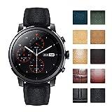 Bandas de reloj de repuesto compatibles con Amazfit Bip/GTS/GTR 42mm 47mm/Amazfit Pace/Stratos Smartwatch Correas de reloj híbridas de silicona de cuero flexible a prueba de agua (20 mm/22 mm)
