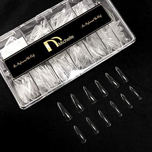 Michelle 500Pcs Gel Nails Tips Stiletto Shape Sturdy Full cover Nails 12 Sizes with Clear Box