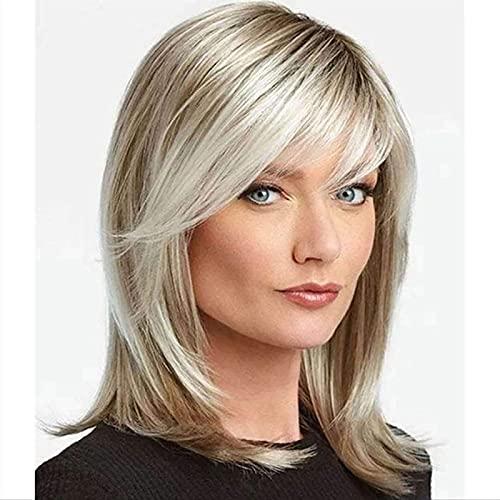 LCNING Pelucas cortas de pelo rizado dorado para las mujeres Pelucas de aspecto natural sintético esponjoso con casquillo de la peluca para la fiesta diaria