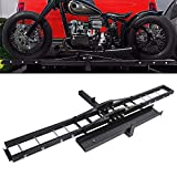 Motorcycle Scooter Dirt Bike Carrier Hauler Hitch Mount Steel Rack with Loading Ramp Anti-Tilt Locking Device 500lb Capacity