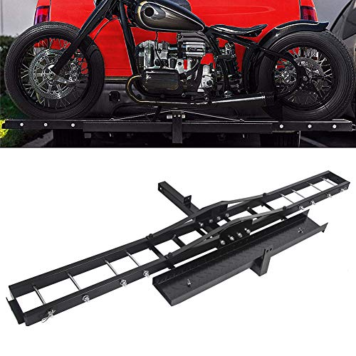 Motorcycle Scooter Dirt Bike Carrier Hauler Hitch Mount Rack With Loading Ramp Anti-Tilt Locking Device 500lb Capacity