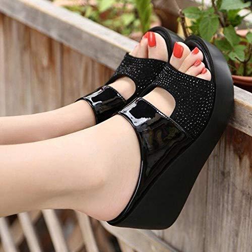 ZRSH Sandalias Mujer Cuña Alpargatas Plataforma Pedrería con Lentejuelas Verano Tacon Plataforma Zapatos Zapatillas,003,35EU