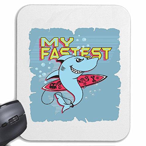 Reifen-Markt Mousepad (Mauspad) My Fastest HAI HAIFISCH Shark Attack WEIßER HAI KATZENHAI SANDHAI TIGERHAI für ihren Laptop, Notebook oder Internet PC (mit Windows Linux usw.) in Weiß