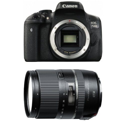 Canon EOS 750D Fotocamera Reflex Digitale da 24 Megapixel, Nero/Antracite + Tamron AF 16 - 300mm F/3.5 - 6.3 Di II VC PZD Obiettivo Ultra-Zoom e Macro per APS-C