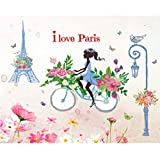 Blue tower ride girl large wall stickers home decor living room decal diy art mural wallpaper removable wall sticker130*138cm