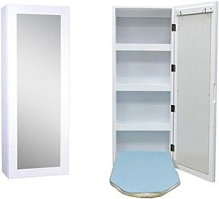 Knoijijuo Mesas de Montaje en Pared Jcnfa Plegable, Tabla de Planchar con Espejo y Rectangular de Almacenamiento incorporados Tabla de Planchar