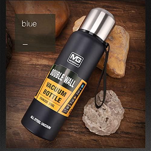 UKKO Taza 500/750/1000 / 1500Ml Capacidad Grande Acero Inoxidable Termos De Doble Pared Botella De Vacío Al Aire Libre Termocup Copa Aislada-1500Ml,Dark Blue