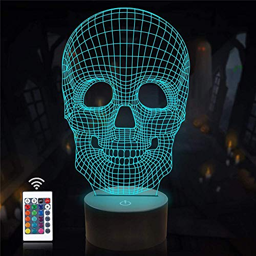 Lámpara 3D de ilusión 3D, modelo de muerte, con diseño de calavera, regulable, control táctil, luz de brillo para decoración del hogar y regalos para amantes, padres, amigos, 16 colores
