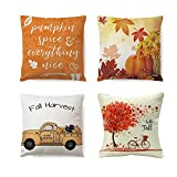 Norhu Fall Throw Pillow Covers 18x18, Autumn Theme Couch Pillow Covers Pumpkin Truck Maple Leaves Bicycle Farmhouse Pillowcase Cotton Linen Cushion Case for Fall Thanksgiving Decor Set of 4