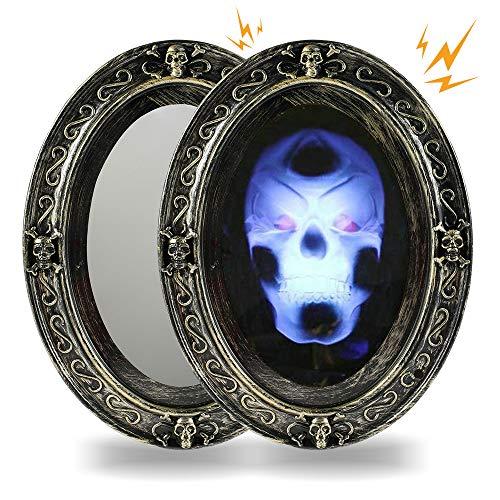 Keyohome Halloween Deko,Bewegungsaktivierter Spukspiegel mit gruseliger, Sprechender Spiegel Horror Spiegel schallheller Porträt-Halloween-Propellerdekoration