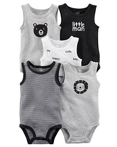 Carter's Carters' Baby Boys 5 Pack Bodysuit Set, Bear Lion Sleeveless, 12...