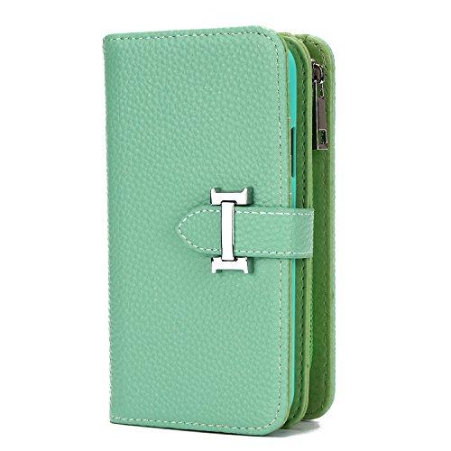 HARRMS portemonnee met mobiele telefoonhoes telefoonvak compatibel met iPhone XS, iPhone X met creditcardvakje geldklemmen leren hoes magneet beschermhoesje, dames/heren
