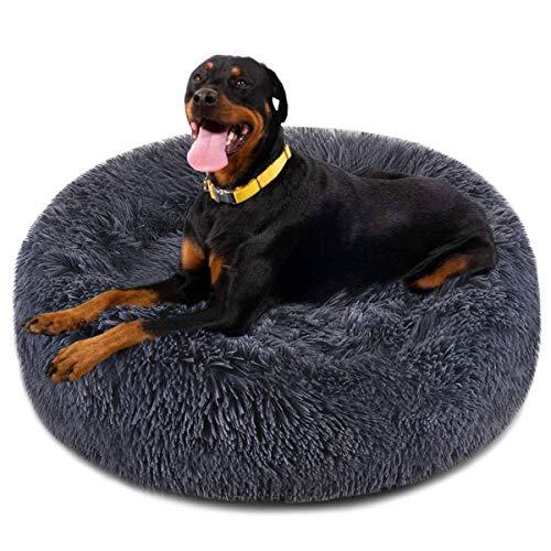 Focuspet Hundebett in Donut-Form, Kunstfell, Größe XXL, 117,8 cm, für Katzen und Hunde, rund, ultraweich, waschbar, selbstwärmend