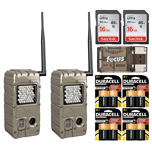 Cuddeback 20MP G-Series Powerhouse IR Flash CuddeLink Trail Camera 2-Pack (G-5062) with Batteries and Cards Bundle