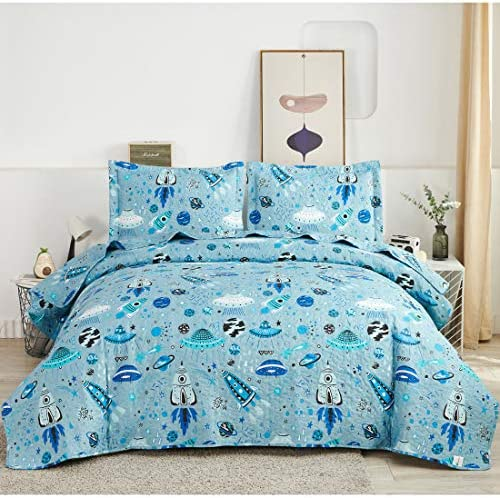 Boys Space Bedding Quilt Twin Size Blue Universe Bedspread Daybed Cover Cute Rocket Ship UFO product image