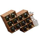 Dongyd Portabottiglie Portabottiglie Portabottiglie for vino in legno massiccio
