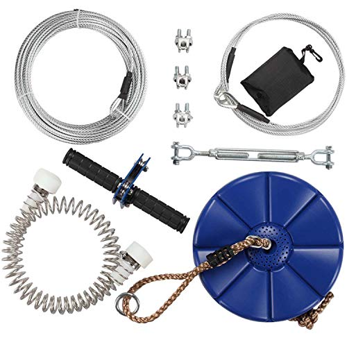 iZipline 95 foot Zip line Kit with Seat and Stainless Steel Spring...