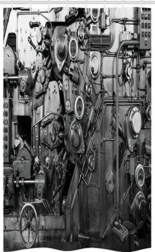 ABAKUHAUS industrieel Douchegordijn, Machine Fabriek, voor Douchecabine Stoffen Badkamer Decoratie Set met Ophangringen, 120 x 180 cm, Zwart en wit