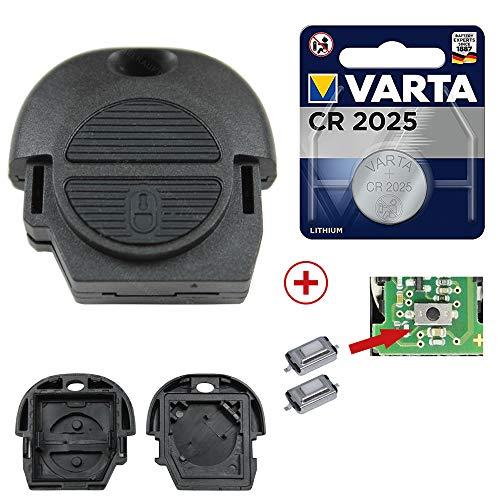 KONIKON Schlüssel gehäuse Reparatur Set Funk Fernbedienung Ersatz kompatibel für Nissan Primera Almera Micra Terrano Patrol X-Trail + Batterie + Mikrotaster Neu