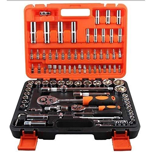 NINGXUE-MAOY 94pcs sockets Llave de trinquete Combo Kit de Herramientas de Auto reparación Rojo Caja de Hardware Kits de Herramienta